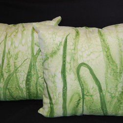 pillow shams - Front of this pillows has green grass with a drop of dew on it. Back of the pillows looks like a grass in the rain.Hand painted pillows with a 100% original design.