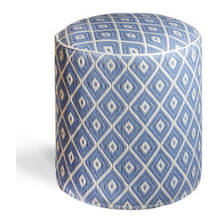Fab Habitat - Veria - Faded Denim & White Sand Pouf - Grecian elegance is the inspiration for the sophisticated geometric pattern of this eco-chic pouf. With this handmade round ottoman in your home, you'll feel so sophisticated and ecofriendly, as it is crafted from recycled materials, masterfully woven together.