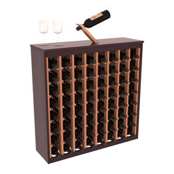 Two Tone 64 Bottle Deluxe Wine Rack in Redwood with Burgundy/Natural Stain - Styled to appear as wine rack furniture, this wooden wine rack will match existing decor while storing 64 bottles of wine. Designed to look like a freestanding wine cabinet, the solid top and sides promote the cool and dark storage area necessary for aging wine properly. Your satisfaction and our racks are guaranteed.