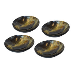 BrandWave - Horn Plates, Round, Set of 4 - Cow horn is not only beautiful, but strong as well. Each plate is unique from the next, as the horn is all-natural. India is a Hindu state, and cows are sacred. As cows die from natural causes, the Indian government collects the horn, and we are able to implement it into our products. Use traditionally for serving, or get creative and find alternate uses throughout your home.