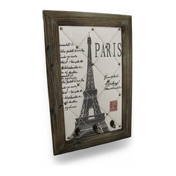 Zeckos - Vintage Style Eiffel Tower Paris Postcard Wall Hanging with Key Hooks - This wall hanging adds a subtle French flair to your home or office, featuring an image of the Eiffel Tower on a vintage Paris postcard background and metal key hooks across the bottom. Slide photos or Notes under the twisted cord for a special touch, creating a customized accent or gift for someone special. This piece measures 23.5 inches (60 cm) tall, 15.5 inches (39 cm) wide, and 2 inches (5 cm) deep. The wooden frame has a metal triangle hanger on the back for mounting to the wall with a single nail or screw. This piece makes a great gift that is sure to be admired.