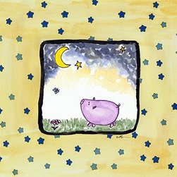 Oh How Cute Kids by Serena Bowman - I See Tonight-Pig, Ready To Hang Canvas Kid's Wall Decor, 11 X 14 - Each kid is unique in his/her own way, so why shouldn't their wall decor be as well! With our extensive selection of canvas wall art for kids, from princesses to spaceships, from cowboys to traveling girls, we'll help you find that perfect piece for your special one.  Or you can fill the entire room with our imaginative art; every canvas is part of a coordinated series, an easy way to provide a complete and unified look for any room.