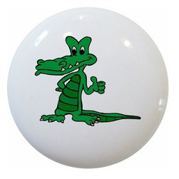 Carolina Hardware and Decor, LLC - Kid's Green Crocodile Ceramic Knob - New 1 1/2 inch ceramic cabinet, drawer, or furniture knob with mounting hardware included. Also works great in a bathroom or on bi-fold closet doors (may require longer screws). Item can be wiped clean with a soft damp cloth. Great addition and nice finishing touch to any room!