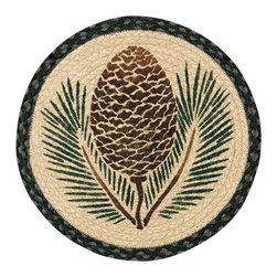 Earth Rugs - CH-025A Pinecone Round Chair Pad 15.5in. - Pinecone Round Chair Pad 15.5 in.