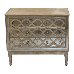 Kathy Kuo Home - Ogee French Country Distressed Antique Mirror Dresser Chest - Bedrooms should be as unique and mysterious as their occupants, and this antique French country bedside chest ensures that yours will impress whoever is lucky enough to visit it. A vintage, distressed mirrored front adds gleam to the otherwise rustic materials of this dresser, and peers out from behind intertwined ogee curves of the drawer front. Elegant turned wooden legs hold this sturdy chest aloft, allowing it to feel light even within a small space.