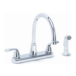 "Premier Faucet - Premier Waterfront Chrome 8"" Two Handle Kitchen Faucet w/ Side Spray - Premier Waterfront Lead-Free Two-Handle 8"" Kitchen Faucet with Sprayer in Polished Chrome"