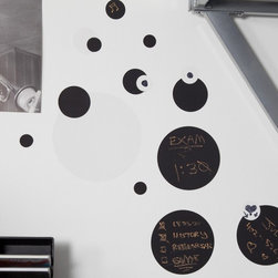 RoomMates - Black and White Chalkboard Dots Peel and Stick Wall Decals - RMK1311SCS - Shop for Stickers from Hayneedle.com! Put a new twist on home message boards with the Black and White Chalkboard Dots Peel and Stick Wall Decals. These fun black and white dots have either a chalkboard or dry erase board surface so you can write messages or reminders on them. Place them all together for a big message board or split them up into key areas of the house - whatever you like! They're also great for kids' rooms and can be removed and reused as many times as you want.Additional Features:Remove and reapply as many times as you likeSizes range from 1.75 diam. to 9 diam. inchesWipe clean with eraser or soft damp clothDon't use glass cleaner; may cause colors to runAbout Roommates:Roommates a subsidiary of York Wallcoverings Inc creates some of the most versatile and unique wall decor you'll find. Their innovative wall decals feature a removable and endlessly reusable design allowing you to move and rearrange your decals as often as you like all without causing any damage to your walls or furnishings. This means you can apply them without worry or headache since you don't have to get the application perfect the first time. RoomMates work on any smooth surface and are particularly ideal for temporary decorating such as around the holidays. All RoomMates products are proudly made in the USA and are made from non-toxic materials so they're as safe for your kids and pets as they are for your walls.Please note this product does not ship to Pennsylvania.