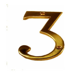 Brass Accents - Brass Accents Traditional 4 Inch Raised Numeral 3 House Number Polished Brass - Brass Accents Traditional 4 Inch Raised Numeral 3