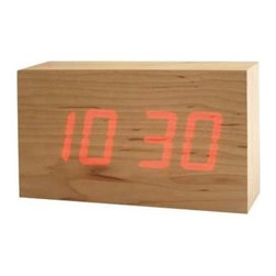To:Ca 'Wood' Led Clock - This minimalistic wooden block clock with an LED light is so fun. I'd love this for my boy's room or even on my husband's side of the bed.
