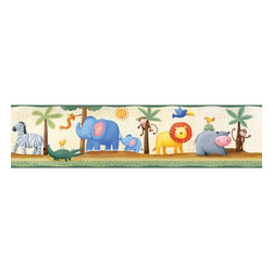 RoomMates - Jungle Adventure Peel & Stick Border - RMK1137BCS - Shop for Wall Decorations from Hayneedle.com! Stick it wherever take it down when you want put it somewhere else. It's pretty much that easy with these innovative stickers designed for children or the child in all of us. This particular design features a collection of cartoon jungle animals frolicking in the lush African Savannah. At five yards long you can decorate the whole length of a wall or buy a few and take care of the whole room. Also available is a matching set of individual jungle animal stickers so you can embellish this border or make a coherent design throughout a room.These stickers will work on just about any surface but take care with wallpaper or some delicate surfaces. If in doubt test in an inconspicuous place prior to applying all the stickers. Also wait 10 to 15 days after painting before using stickers. Though the paint feels dry it needs adequate time to cure. As with any adhesive product these will work much better on clean surfaces free of dust and the like. Specifically they will work well on surfaces including but not limited to walls mirrors your fridge laptop covers tile glass lockers furniture and automotive surfaces.Please note this product does not ship to Pennsylvania.