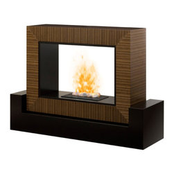 """Dimplex - Dimplex Amsden Mantel - Dimplex - Electric Fireplaces - GDSOP1382CN - The sleek and contemporary design of this mantel enhances the beauty of the realistic Opti-myst flame. The optional back can be removed to create a second see through fireplace. A discerning consumer will appreciate the uniqueness of the """"floating""""� cube on the black base."""