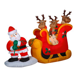 None - Santa Pulling A Sleigh Scene - This funny,outdoor inflatable scene features Santa Claus pulling a sleigh of reindeer in the snow. It's sure to get all your neighbors and holiday guests into the Christmas spirit. Airblown inflatables make a wonderful addition to your Christmas decor.
