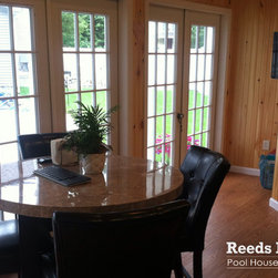 "Reeds Ferry  Sheds® - Interiors - Reeds Ferry Sheds® are not just for storing lawn equipment. Our customers use our buildings for their pool house, guest house, office, and more. Take a tour of our ""shed"" interiors."