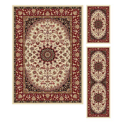Tayse Rugs - Elegance Beige, Red and Black Rectangular: 5 Ft. x 7 Ft. Rug - - The detailed oriental medallion design of this area rug make a statement of elegance to any room. Soft polypropylene fibers make it soft, warm, and easy to clean. Rich hues of ivory, gold, red and black. Vacuum and spot clean.  - Square Footage: 35  - Pattern: Oriental  - Pile Height: 0.39-Inch  - Only includes one rug Tayse Rugs - 5392  Ivory  5x7