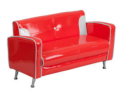 Flash Furniture - Flash Furniture Kids Red and White Loveseat - Kids will now get to enjoy furniture designed specifically for their size! This retro style chair will be a charming piece of furniture that your child is sure to love. This child sized loveseat will look great in any room. The vinyl upholstery ensures easy cleaning after accidents or for quick wipe offs.