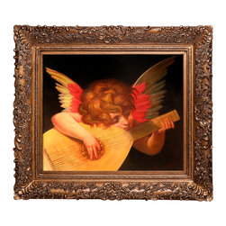 """overstockArt.com - Rosso Fiorentino - Musical Angel - 20"""" X 24"""" Oil Painting On Canvas Musical Angel is a beautiful oil painting by the famous Rosso Fiorention. Enjoy the beauty and color of this fine oil painting in every room or workspace. Giovanni Battista di Jacopo (1494 - 1540), known as Rosso Fiorentino (meaning """"red Florentine"""" in Italian), or Il Rosso, was an Italian Mannerist painter, in oil and fresco, belonging to the Florentine school. Born in Florence with the red hair that gave him his nickname, Rosso first trained in the studio of Andrea del Sarto alongside his contemporary, Pontormo. In late 1523, Rosso moved to Rome, where he was exposed to the works of Michelangelo, Raphael, and other Renaissance artists, resulting in the realignment of his artistic style."""