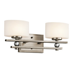 "Kichler 2-Light Wall Mounted Bath Light - Antique Pewter - Two Light Wall Mounted Bath Light. May be installed with glass up or down. Back plate height: 4.75"". Back plate width: 6.68"". Height from center outlet: 2.25"""