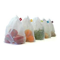 Produce Bags, Set of 5 - BYOB! Years ago, I renounced plastic shopping bags and started carrying my own reusable ones. But the produce issue stumped me. Placing veggies loosely in my shopping basket instead of bagging them in plastic didn't seem like the best solution. Then I saw these! They're made from translucent polyester mesh so you can wash produce right in the bag.