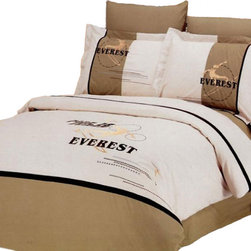 Le Vele - Le Vele Snowboard, Embroidery 6pc Duvet Cover Set Bed in a Box, Queen LE133Q - The grace of cotton meets with the elegance of Embroidery with this ensemble with skiers and the word EVEREST embroidered on a Gray-Sand backdrop that reverses to a solid Light-Mustard color with a dark brown stripe on top.