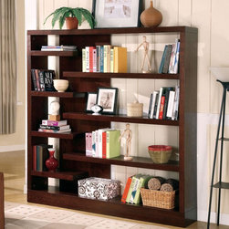 Coaster - Cappuccino Transitional Bookcase - Semi-backless console has the substantial look of a built-in, creating a wall of storage and display. Finished in a cappuccino color.
