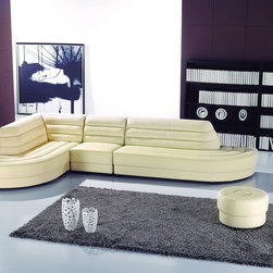 4pc Modern Ivory Leather Sectional Couch Sofa Set Chaise Chair Ottoman - Features