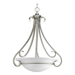 Progress Lighting - Progress Lighting P3847-09 Three-Light Foyer With Etched Glass Bowl - Three-light inverted pendant with etched white oversized, bell-shaped glass bowl. Distinctive ebbing and flowing of squared scrolls and arms in Brushed Nickel finish.