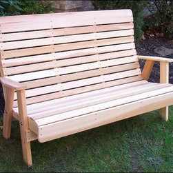 Fifthroom - Red Cedar Royal Highback Garden Bench - Comfort is the operative word in our Highback Series.  This Red Cedar Royal Highback Garden Bench features our signature contours in the back and seat that give you blissful lumbar support, while the extra-high headrest provides even more relaxation.  This gorgeous red cedar bench will really help you to make the most of your leisure time.