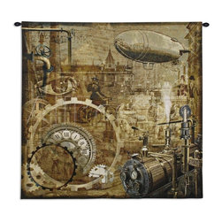 Steampunk Wall Tapestry - This funky throw has steampunk iconography depicted on it.