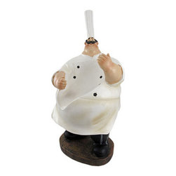 Tabletop Chef Single Wine Bottle Holder - This pleasantly plump chef aims to please, and will hold your wine until the perfect occasion for it! He measures 14 1/2 inches tall, 6 1/2 inches wide, 6 inches deep and is made of cold cast resin. This piece is hand-painted, from the stripes on his pants to his itty bitty eyes. Wine bottle holders make a great gift for any occasion- this one is a jolly fellow, and is sure to bring a smile to all that see him!