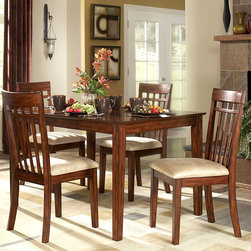 Tribecca Home - TRIBECCA HOME Daphne Burnished Cherry 5-piece Mission Casual Dining Set - Update your dining room with this tan microfiber five-piece dining set. This set includes a table and four chairs. With its solid Asian wood frame and soft upholstery,this dining set will give your home a comfortable and stylish place to share a meal.