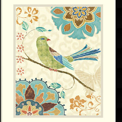 Amanti Art - Daphne Brissonnet 'Eastern Tales Birds II' Framed Art Print 16 x 19-inch - 'Eastern Tales Birds II' features a bright songbird over floral patterns; bring a vintage, cottage feel to any space.