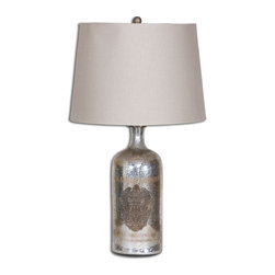 Medallion Borel Antique Mercury Glass Table Lamp - *Antiqued Mercury Glass Accented With An Antiqued Brass Medallion