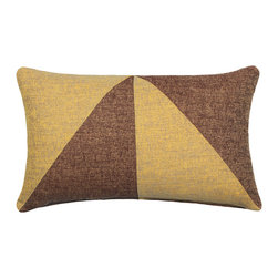 """LaCozi - """"Bello"""" Brown Jacquard Oblong Pillow - Add a graphic pop of color to your sofa or chair with this contemporary accent pillow.  Double-stitched seams and reinforced stress points provide durable construction that will last you for years, while the easy-to-remove feather insert makes cleaning a snap."""