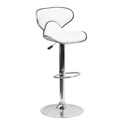 Flash Furniture - Cozy Mid-Back White Vinyl Adjustable Height Bar Stool with Chrome Base - This may be the most comfortable and attractive stool out there with its ergonomically curved seat and back. The mid-back design will allow you to relax your back. You're sure to receive compliments with this stool in your home. The easy to clean vinyl upholstery is perfect when being used on a regular basis. The dual purpose design performs as a counter height stool or a bar height stool. The height adjustable swivel seat adjusts from counter to bar height with the handle located below the seat. The chrome footrest supports your feet while also providing a contemporary chic design.