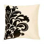 """Surya - Surya Pillow X-D8181-1710P - A large, elegant floral design pops off the background of this pillow. Colors of white and black accent this decorative pillow. This pillow contains a down fill and a zipper closure. Add this 18"""" x 18"""" pillow to your collection today."""