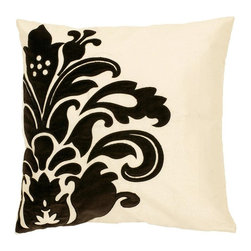 "Surya - Surya Pillow X-D8181-1710P - A large, elegant floral design pops off the background of this pillow. Colors of white and black accent this decorative pillow. This pillow contains a down fill and a zipper closure. Add this 18"" x 18"" pillow to your collection today."