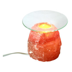 Solay Wellness dba So Well - So Light Himalayan Salt Crystal Aroma Lamp (2-3lbs) - Our Shaped Aroma Lamp enhances any environment with the essential oils you choose while freshening the air with healthy ions. It's so convenient too; sized just right for desks or smaller spaces. Use it with or without the glass plate to boost air quality and peace of mind.