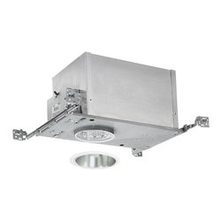 Juno Lighting Group - 4-inch Low-Voltage Recessed Lighting Kit with Haze Trim - IC44N/442HZ-WH - This low-voltage recessed lighting kit features 4-inch insulation-ready housing and a deep cone trim with a haze finish and white outside trim. The housing can be completely covered with insulation. It is air-tight which reduces heating and cooling costs. It comes with a thermally protected magnetic transformer. The hangers are expandable up to 25 inches. Haze is a smooth finish with a brushed aluminum look. Takes (1) 50-watt halogen MR-16 bulb(s). Bulb(s) sold separately. Dry location rated.