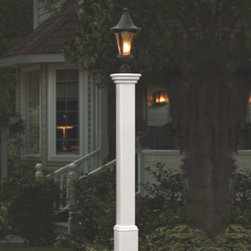 """Grandin Road - Madison Lamp Post - Vinyl construction never needs painting, sealing, or treating. Molded trim and 24""""H base. Impervious to termites and other insects. Some assembly required. Lamp not included. Our Madison Lamp Post is a handsome way to shed light on a sidewalk or driveway. The classic post, made of maintenance-free vinyl, replicates the look of wood and complements most surroundings.  .  .  .  .  . 20-year manufacturer's warranty . Imported."""