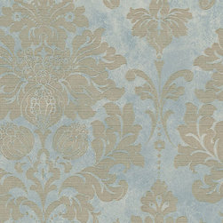 Large Damask in Gold on Turquoise - MD29418 - Collection:Silk Impressions