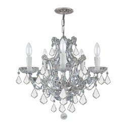 Crystorama - Crystorama 4405-CH-CL-MWP Chandelier - There's undeniable magic when light meets crystal or glass. It sparks the same fire one sees when light meets precious and semi-precious stones. Great lighting often takes styling cues from jewelry as well, with its primary use of gold and silver tones. J