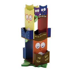 "Levels of Discovery - Owls Revolving Bookcase - Colorful wise owl design Special messages: ""Whooo Likes to Read?"" & ""Owl Tell You a Story"" Revolves for easy access 10"" & 12"" shelves with 4 book racks for additional book storageColorful design. Sepcial Messages: ""Whooo Likes to Read?"" & ""Owl Tell You a Story"". Revolves for easy access. 10"" & 12"" shelves with 4 book racks. All products have instructions included for assembly"