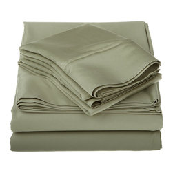1200 Thread Count Egyptian Cotton King Sage Solid Sheet Set - 1200 Thread Count oversized King Sage Solid Sheet Set 100% Egyptian Cotton