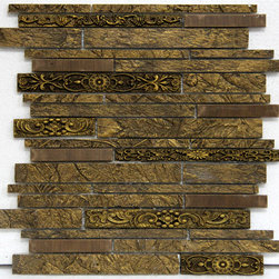 """MOSAICS - From Nexon Building Materials """"Aluminescence"""" Mosaics Line. Perfect for kitchen backsplashes and other walls. Mosaic Tile name: """"Bronze"""" from the Mosaic line """"Aluminescence""""."""