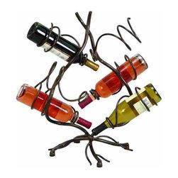 """Metal Wine Rack 34722 - Metal Wine Rack holds six wine bottles. 22""""H x 19""""W"""