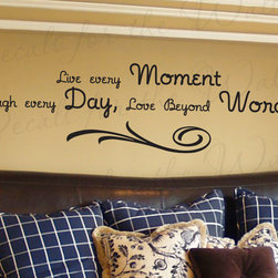 Decals for the Wall - Wall Decal Sticker Quote Vinyl Art Lettering Decorative Live Every Moment I20 - This decal says ''Live every Moment - Laugh every day - Love beyond words''