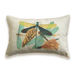 Vintage Dragonfly Pillow Cover 12x18 inch Ivory Cotton Canvas PRINT DESIGN 29 -