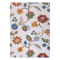 Jaipur Rugs - Transitional Floral Pattern Ivory /White Wool/Silk Tufted Rug - BL33, 5x8 - Transform your room into an enchanting garden with this hand-tufted wool and silk rug. The vibrant flowers and leaves are raised, which makes them really come alive. This exquisite rug is available in multiple sizes to suit your specific needs.