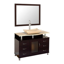 "Modern Bathroom - Accara 42"" Bathroom Vanity with Drawers - Espresso w/ Ivory Marble Counter - Choose the stunning Accara 42"" Bathroom Vanity with Drawers to add a dramatic, long-lasting statement to any contemporary bath or powder room. The deep, rich Espresso finish and marble vanity top creates a perfect combination of forward-thinking design and traditional usability in a single vanity. Take your contemporary bathroom remodel or fantasy-bath-build to the next level, with the addition of the Accara Vanity. For a vanity designed to impress and engineered to last, choose Accara. Available in additional sizes. Features Fits 42 inch wide space Includes Ivory Marble counter Includes choice of porcelain or optional marble vessel sink Includes single-hole faucet mount Includes drain assembly and all mounting hardware for easy assembly Faucet not included Optional matching mirror Optional matching side and wall cabinets How to handle your counter Spec Sheet for vanity Spec Sheet for Claire Rotating Wall Cabinet with mirror (WC-B802) Spec Sheet for Sarah Storage Cabinet (WC-B803) Spec Sheet for Accara Bathroom Wall Cabinet (WC-B805) Spec Sheet for Maria Bathroom Wall Cabinet (WC-B807) "" target=""_blank"" class=""pdf"">Installation Instructions --> Please note that all custom natural stone and Caesarstone counters are proudly manufactured in the USA specifically for your order, and so require up to 3 weeks manufacturing time. Caesarstone Carbone, Starry Night, Spring Blossom, and Marrone are made from recycled content. Quartz Reflections and Ruby Reflections colors are made with up to 35% post-consumer recycled glass. Chocolate Truffle and Smoky Ash colors are made with up to 17% post-consumer recycled glass.Natural stone like marble and granite, while otherwise durable, are vulnerable to staining from hair dye, ink, tea, coffee, oily materials such as hand cream or milk, and can be etched by acidic substances such as alcohol and soft drinks. Please protect your sink by avoiding contact with these substances. For more information, please review our ""Marble & Granite Care"" guide."