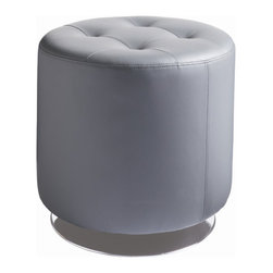 "Sunpan Modern - Domani Swivel Ottoman - Features: -Amazingly priced round swivel ottoman.-Tufted top.-Material: Faux leather.-Please note that although every attempt has been made to ensure accuracy, all dimensions are approximate and colors may vary.-Style: Transitional.-Pattern: Solid.-Finish: Polished chrome.-Distressed: No.-Upholstery Material: Faux leather.-Frame Material: Wood.-Solid Wood Construction: No.-Number of Items Included: 1.-Non-Toxic: Yes.-Fire Resistant: Yes.-Scratch Resistant: No.-Stain Resistant: Yes.-Water Resistant: No.-Shape: Round.-Cushion or Upholstery Fill Material: Foam.-Foam Density: 2.1.-Seating Comfort: Firm.-Coils or Springs: No.-Removable Cushion: No.-Removable Upholstery Cover: No.-Tufted Cushion: Yes.-Welt On Cushions: No.-Slipcovered: No.-Skirted: No.-Pouf: No.-Casters: No.-Glider: No.-Nailhead Trim: No.-Tray Top: No.-Storage Available: No.-Nested Stools: No.-Collapsible: No.-Pull Out Bed: No.-Suitable As Seating: Yes.-Outdoor Use: No.-Swatch Available: Yes.-Commercial Use: No.-Recycled Content: No.-Product Care: Wipe clean.Dimensions: -Overall Height - Top to Bottom: 17.25"".-Overall Width - Side to Side: 18"".-Overall Depth - Front to Back: 18"".-Shelving: No.-Drawers: No.-Legs: No.-Storage: No.-Overall Product Weight: 17 lbs.Assembly: -Assembly Required: No."